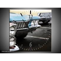 Wandklok Schilderij Oldtimer, Auto | Zwart, Blauw, Rood