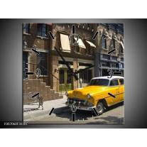 Wandklok Schilderij Oldtimer, Auto | Geel, Grijs, Bruin