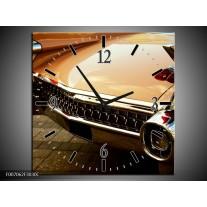 Wandklok Schilderij Oldtimer, Auto | Bruin, Goud, Geel