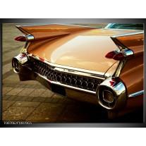 Glas Schilderij Oldtimer, Auto | Bruin, Goud, Geel