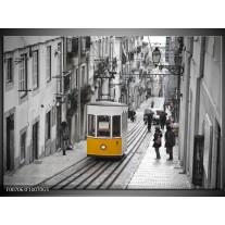 Glas Schilderij Steden | Zwart, Wit, Geel