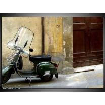 Canvas Schilderij Motor, Scooter | Bruin, Geel, Groen