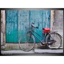 Canvas Schilderij Fiets | Blauw, Groen, Grijs
