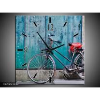 Wandklok Schilderij Fiets | Blauw, Groen, Grijs
