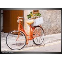 Glas Schilderij Fiets | Oranje, Geel, Bruin