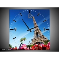 Wandklok Schilderij Parijs, Eiffeltoren | Blauw, Rood, Groen