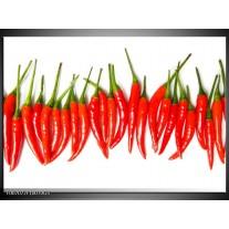 Glas Schilderij Paprika, Keuken | Wit, Rood, Groen