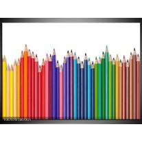 Glas Schilderij Kleurpotloden | Wit, Rood, Blauw