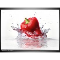 Glas Schilderij Paprika, Keuken | Wit, Rood
