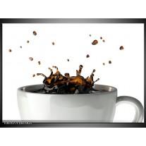 Glas Schilderij Koffie, Keuken | Wit, Bruin