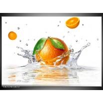 Canvas Schilderij Sinaasappel, Keuken | Wit, Oranje, Groen