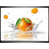 Glas Schilderij Sinaasappel, Keuken | Wit, Oranje, Groen