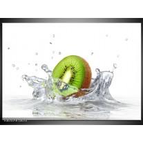 Canvas Schilderij Kiwi, Keuken | Wit, Groen, Bruin