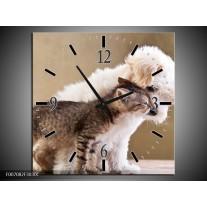 Wandklok Schilderij Hond, Poes | Bruin, Crème