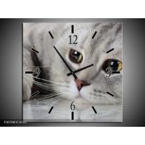 Wandklok Schilderij Kat, Dieren | Grijs, Bruin
