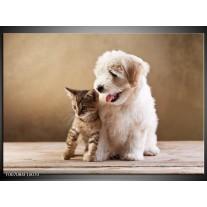 Canvas Schilderij Hond, Poes | Bruin, Crème