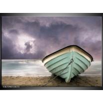 Canvas Schilderij Boot, Zee | Grijs, Groen, Paars