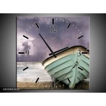 Wandklok Schilderij Boot, Zee | Grijs, Groen, Paars