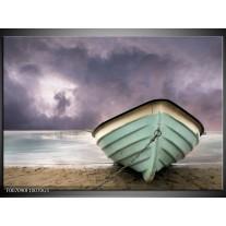 Glas Schilderij Boot, Zee | Grijs, Groen, Paars