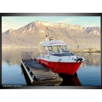 Glas Schilderij Boot, Bergen | Rood, Grijs, Wit