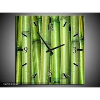 Wandklok Schilderij Bambus, Natuur   Groen