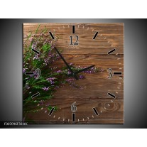 Wandklok Schilderij Lavendel, Landelijk | Bruin, Paars, Groen