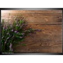 Glas Schilderij Lavendel, Landelijk | Bruin, Paars, Groen