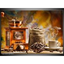 Glas Schilderij Koffie, Keuken | Bruin, Geel, Oranje