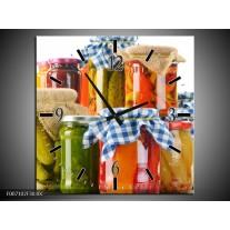 Wandklok Schilderij Keuken, Groenten   Wit, Rood, Groen