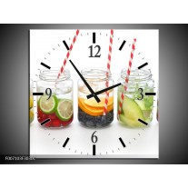 Wandklok Schilderij Keuken, Drinken | Wit, Rood, Groen