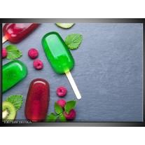 Glas Schilderij Ijs, Fruit | Grijs, Rood, Groen