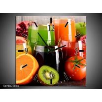Wandklok Schilderij Groenten, Fruit   Oranje, Geel, Groen