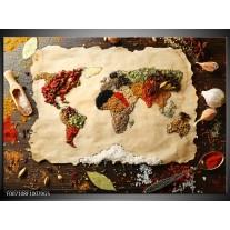 Glas Schilderij Kruiden, Wereldkaart | Bruin, Crème