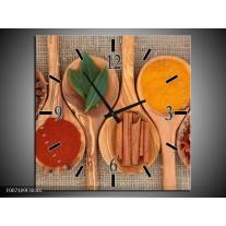Wandklok Schilderij Kruiden, Keuken | Bruin, Geel
