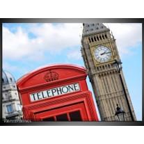 Glas Schilderij Engeland, London | Blauw, Rood, Grijs