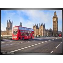 Glas Schilderij Engeland, London | Rood, Blauw, Grijs