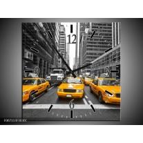 Wandklok Schilderij New York, Auto   Geel, Zwart, Wit