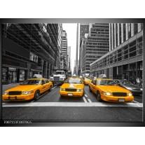 Glas Schilderij New York, Auto   Geel, Zwart, Wit