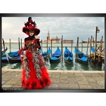 Glas Schilderij Venetië, Masker | Rood, Blauw, Grijs