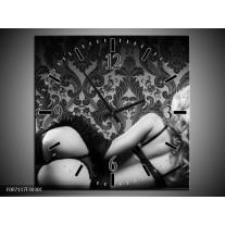 Wandklok Schilderij Vrouw, Kunst | Zwart, Wit, Grijs