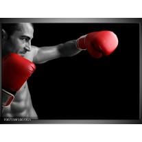 Glas Schilderij Man, Sport | Zwart, Grijs, Rood
