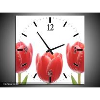Wandklok Schilderij Tulpen, Bloemen | Wit, Rood, Groen