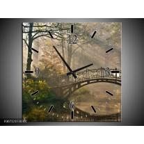 Wandklok Schilderij Brug, Natuur | Grijs, Groen, Bruin