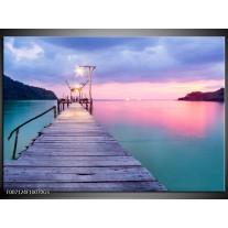 Glas Schilderij Natuur, Water | Paars, Roze, Blauw