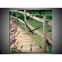 Wandklok Schilderij Natuur, Brug   Groen, Paars, Grijs