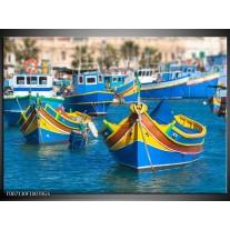 Glas Schilderij Boot, Natuur | Blauw, Geel, Oranje