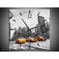 Wandklok Schilderij New York, Auto | Zwart, Wit, Geel