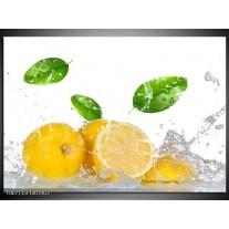 Glas Schilderij Citroen, Keuken | Wit, Geel, Groen