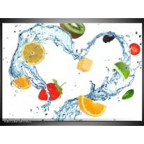 Glas Schilderij Fruit, Keuken | Wit, Geel, Blauw