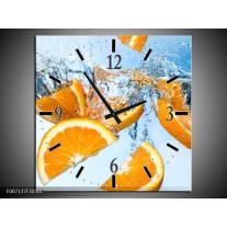 Wandklok Schilderij Sinaasappel, Keuken | Geel, Blauw